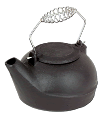 2.7 Quart Black Cast Iron Wood Stove Kettle