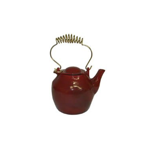 Apple Red Cast Iron Wood Stove Kettle