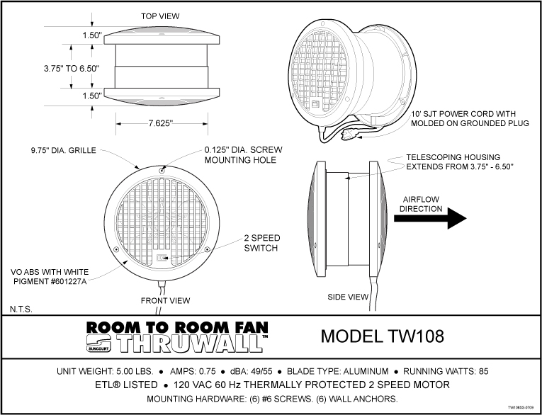 Thruwall Room To Room Fan : Thruwall room to fan