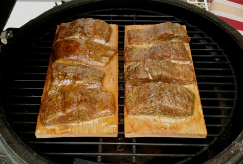 Cedar Plank Salmon Big Green Egg