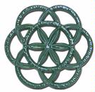 Forest Green Circle Star Wood Stove Steamer Trivet