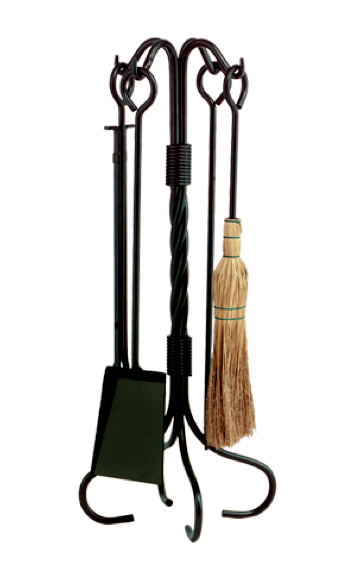 5 Piece Twisted Wrought Iron Fireplace Tool Set is a tool set with a decorative twist accent. The tool set is made from heavy wrought iron.