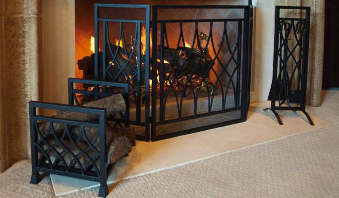Dagan 5 Piece Wrought Iron Fireplace Tool Set AHF162 is a detailed accent for your hearth. The Dagan fireplace tool set AHF162.