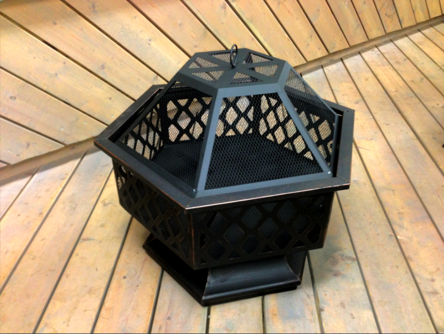 Oil Rubbed Bronze Outdoor Hexagon Fire Pit With Lattice Design