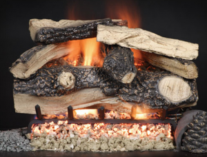 Split Rustic Oak Vented Gas Log Set