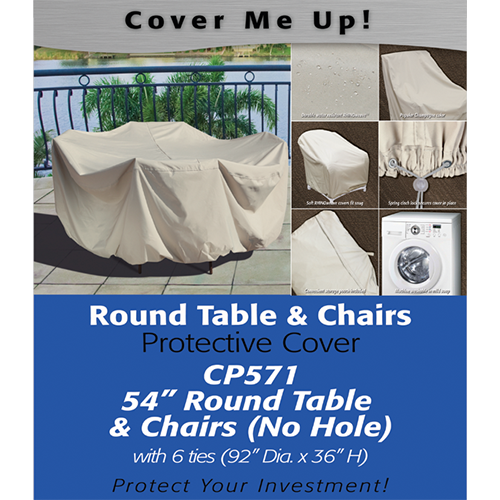 "Patio Furniture Covers 54"" Round Table and Chairs"