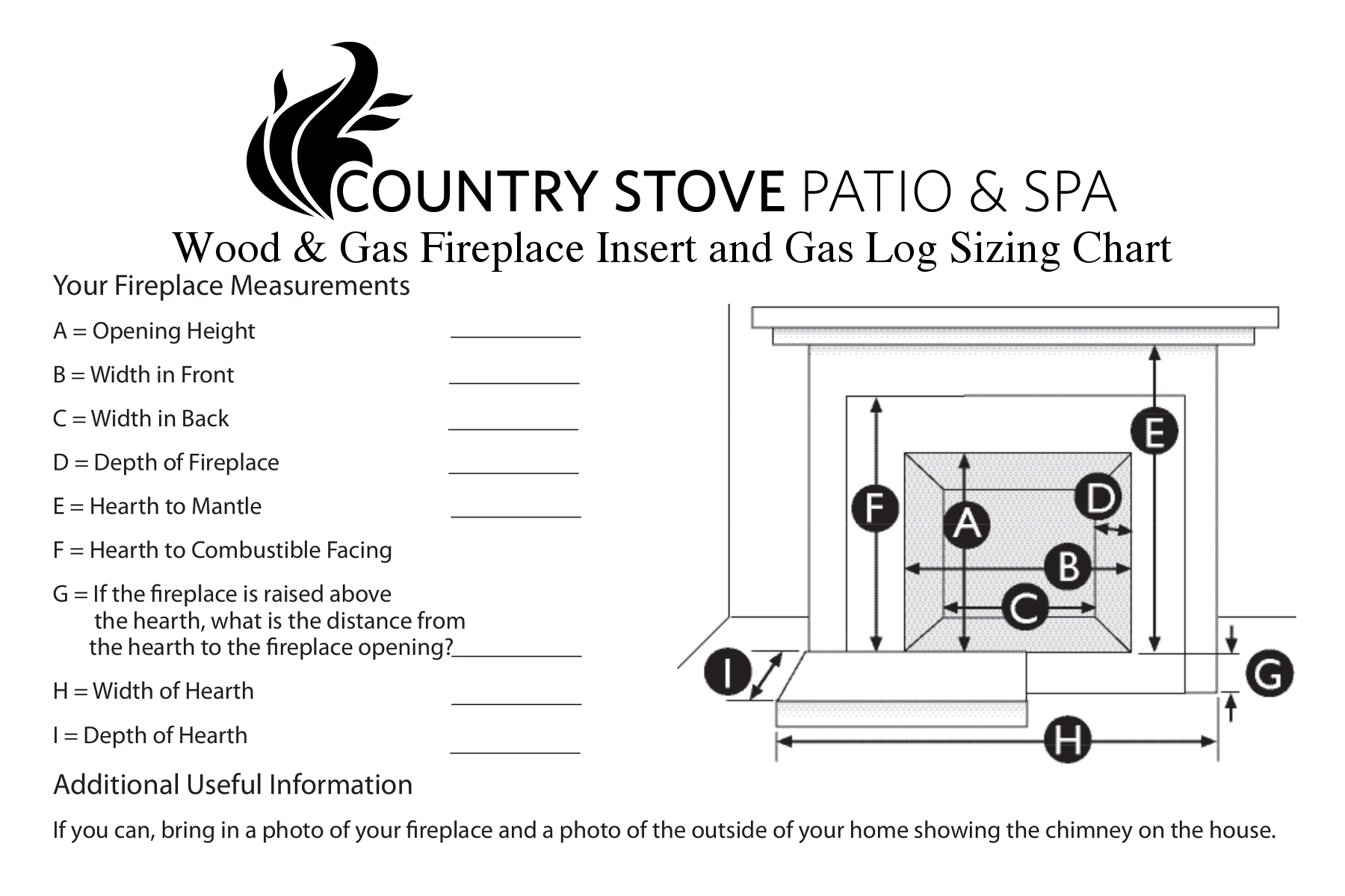 Fireplace Measurement Sheet
