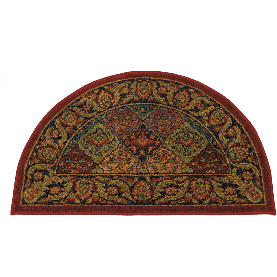 "The Half Round Burgundy hearth rug is 30% wool and 70% polyester. It is fire resistant to protect your floor. Half round and measures 44"" x 22""."