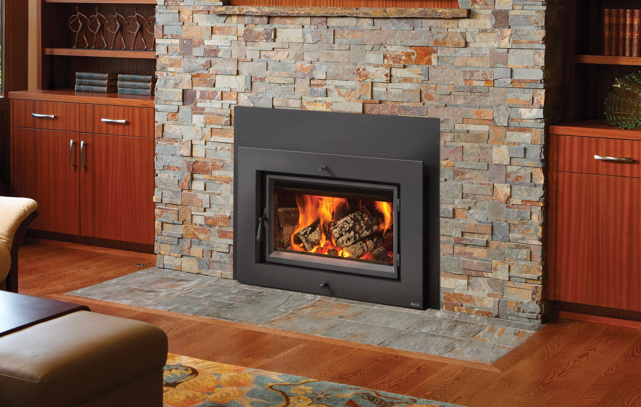 Fireplace xtrordinair large flush wood hybrid fire inserts for New construction wood burning fireplace