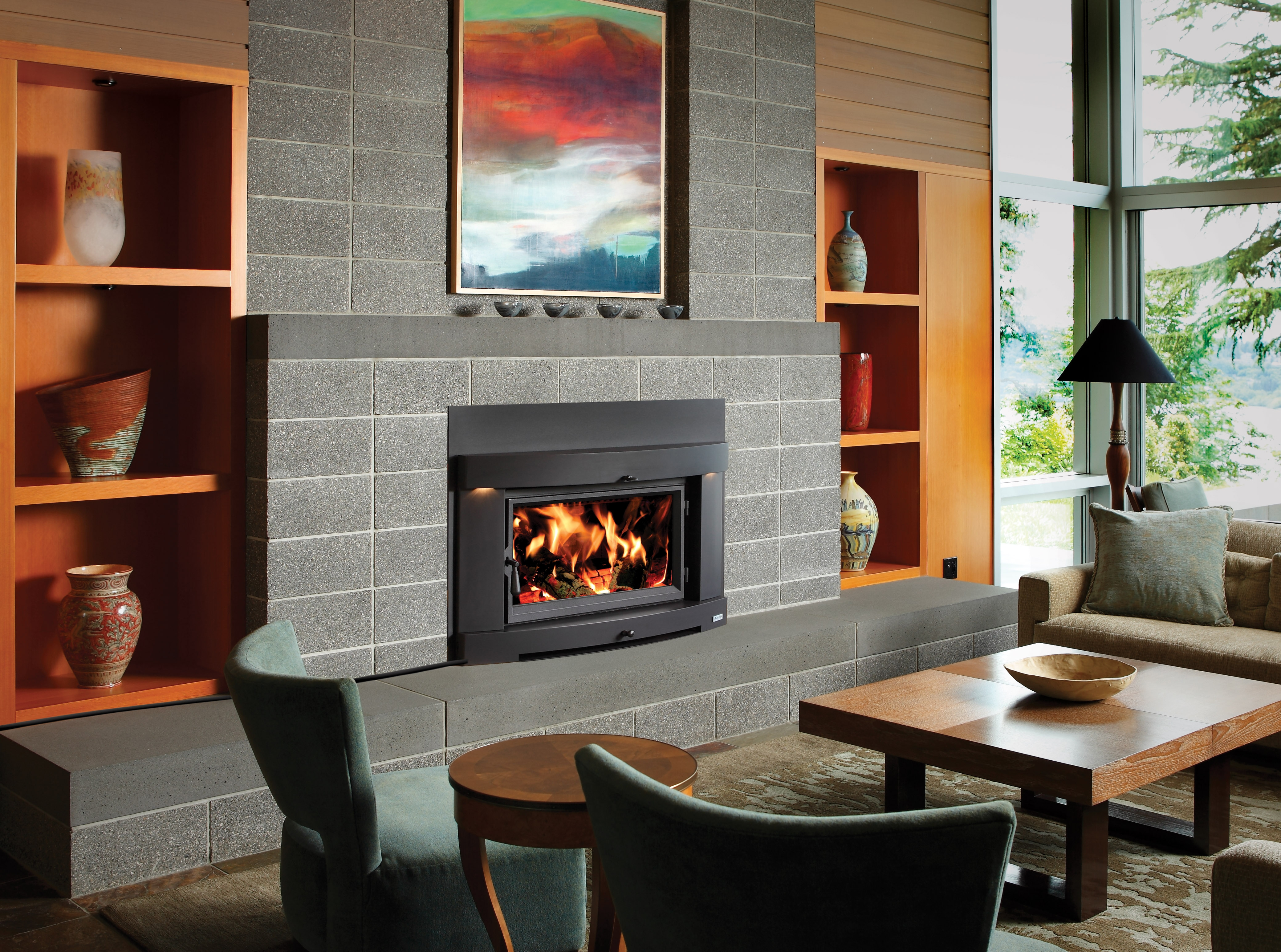 Large Flush Wood Hybrid Fire Inserts Country Stove Patio