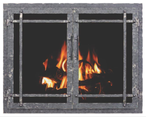 country stove patio still aged iron fireplace glass door