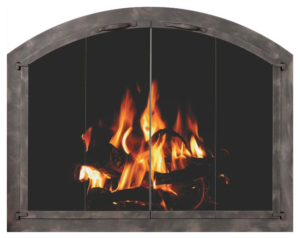 country stove patio stoll arch fireplace glass door