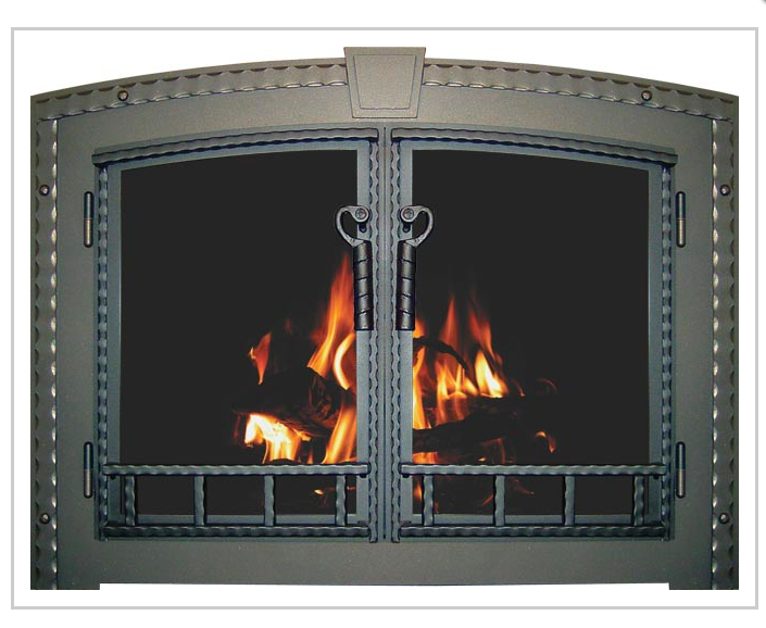 country stove patio spa wood fireplace glass doors
